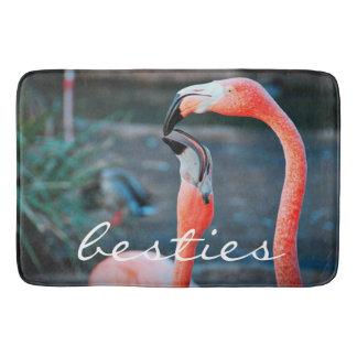 """Besties"" Quote Cute Orange Pink Flamingos Photo Bath Mat"
