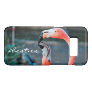 """# Besties"" Quote Cute Orange Pink Flamingos Photo Case-Mate Samsung Galaxy S8 Case"