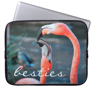 """Besties"" Quote Cute Orange Pink Flamingos Photo Laptop Sleeve"