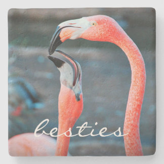 """Besties"" Quote Cute Orange Pink Flamingos Photo Stone Coaster"