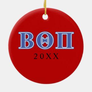 Beta Theta Pi Blue Letters Ceramic Ornament