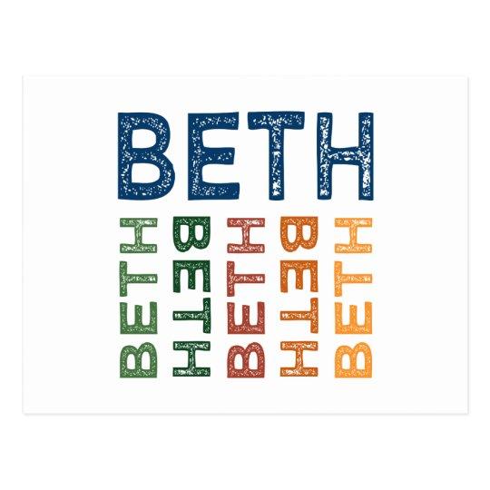 Beth Cute Colourful Postcard