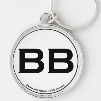 Bethany Beach Silver-Colored Round Keychain