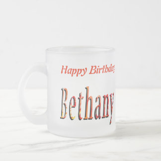 Bethany Girls Name Logo Frosted Glass Coffee Mug