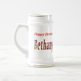 Bethany, Happy Birthday Logo, Beer Stein