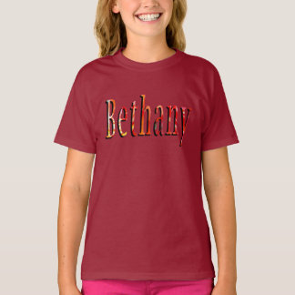 Bethany, Name, Logo, Girls Maroon T-shirt