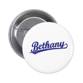 Bethany script logo in blue 2 inch round button