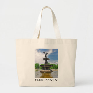 """Bethesda """"Angel of the Waters"""" Central Park, NYC Large Tote Bag"""