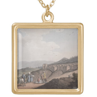 Bethlehem in Palestine, View of the Principal Part Gold Plated Necklace