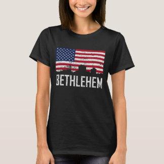Bethlehem Pennsylvania Skyline American Flag Distr T-Shirt