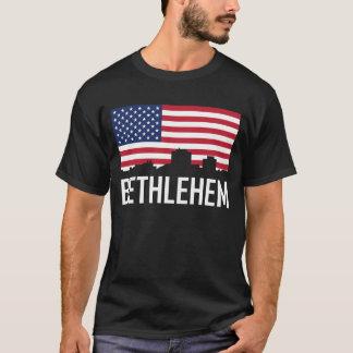 Bethlehem Pennsylvania Skyline American Flag T-Shirt