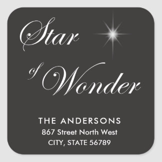 Bethlehem Star of Wonder Black Gothic Square Sticker