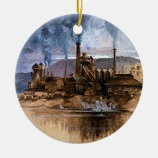 Bethlehem Steel Works by Joseph Pennell Ceramic Ornament