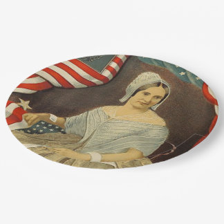 Betsy Ross First American Flag Vintage Portrait US 9 Inch Paper Plate