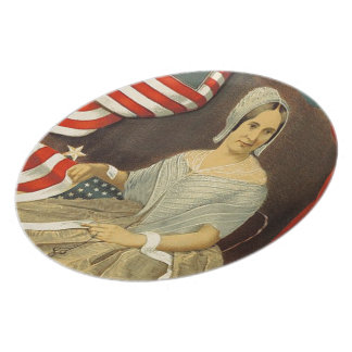 Betsy Ross First American Flag Vintage Portrait US Dinner Plates