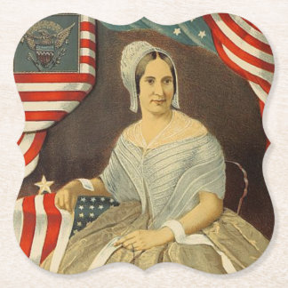Betsy Ross First American Flag Vintage Portrait US Paper Coaster