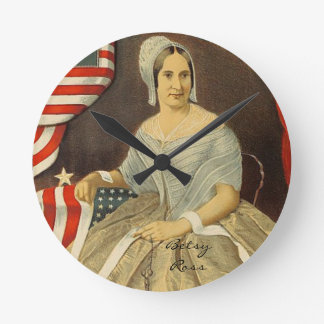 Betsy Ross First American Flag Vintage Portrait US Round Clock