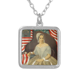 Betsy Ross First American Flag Vintage Portrait US Silver Plated Necklace