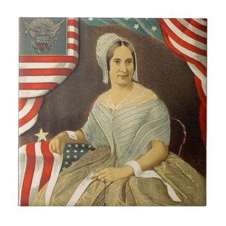 Betsy Ross First American Flag Vintage Portrait US Tile
