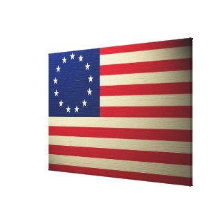 Betsy Ross Flag Canvased Antiqued Canvas Print