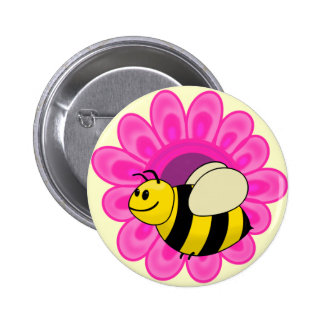 Betsy the Buzzy Bumble Bee Cartoon 2 Inch Round Button