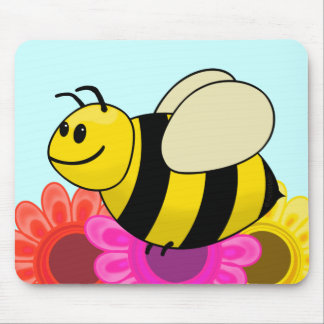 Betsy the Buzzy Bumble Bee Cartoon Mouse Pad