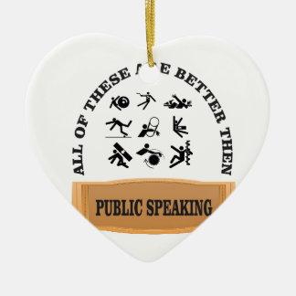 better then public speaking ceramic heart ornament
