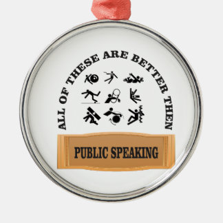 better then public speaking Silver-Colored round ornament
