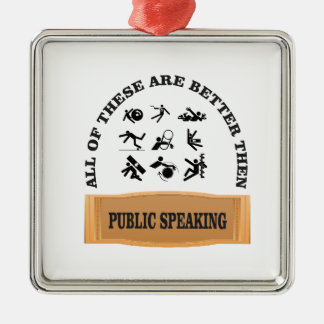 better then public speaking Silver-Colored square ornament