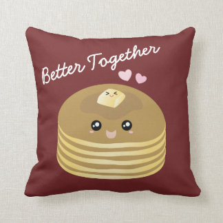 Better Together Cute Pancakes Butter Funny Foodie Throw Pillow