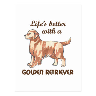 BETTER WITH RETRIEVER POSTCARD
