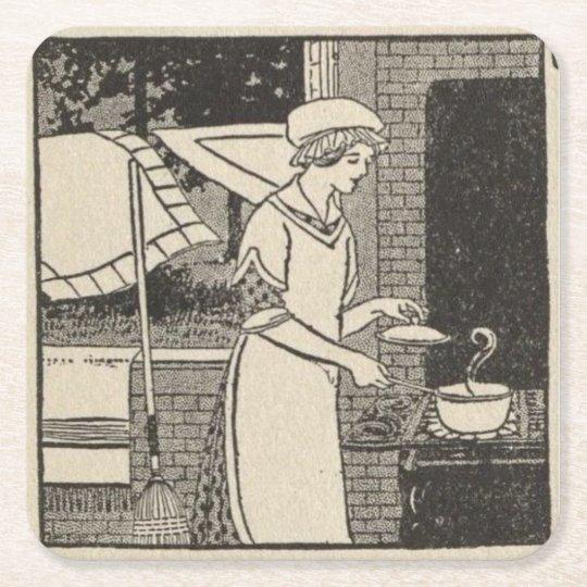 Bettina at the stove square paper coaster