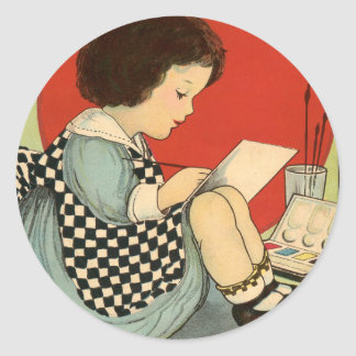 Bettys Painting Book Classic Round Sticker