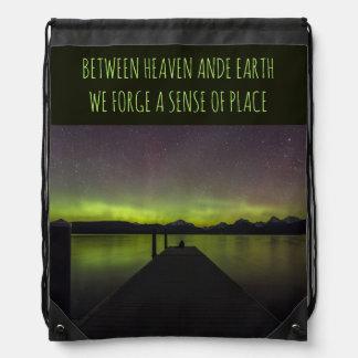 Between Heaven And Earth Aurora Borealis Drawstring Bag