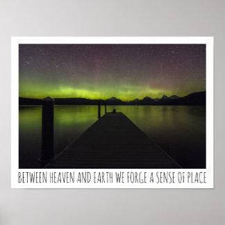 Between Heaven And Earth Aurora Borealis Poster