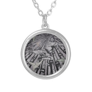 Between Real and Surreal by Carter L. Shepard Silver Plated Necklace