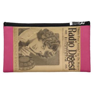 Beulah Clark 1926 vintage radio magazine cover Makeup Bags