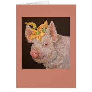Beullah the pig card