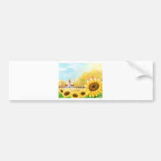 beutiful flower with windmill scene bumper sticker