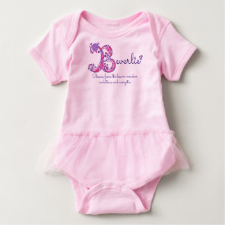 Beverlie girls B name meaning monogram baby romper