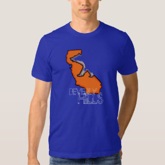 Beverly Hills California blue orange guy state tee