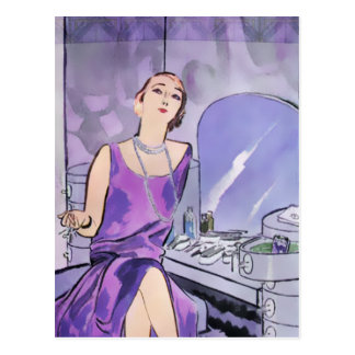 Beverly's Boudoir: 1920s Fashion in Purple Postcard
