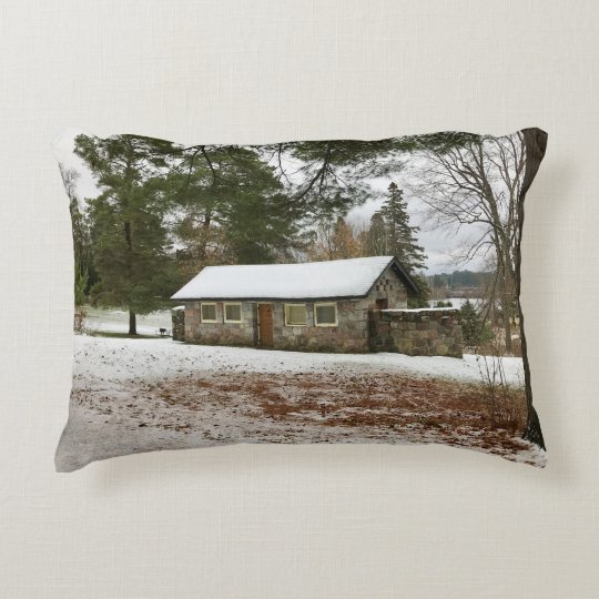 Bewabic State Park, MI Stone Cottage Accent Pillow