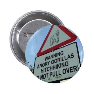 beware: angry gorillas! 2 inch round button