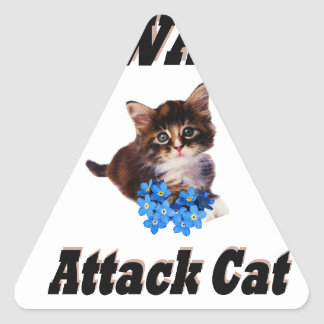 Beware Attack Cat Triangle Sticker