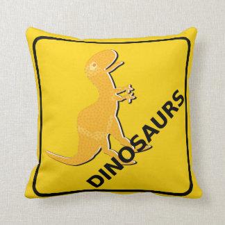 Beware Cartoon Dinosaurs Warning Sign T-Rex Throw Pillow