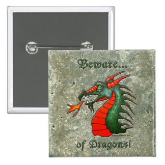 Beware Dragons Green Stone Look 2 Inch Square Button
