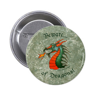 Beware Dragons Stone Green 2 Inch Round Button