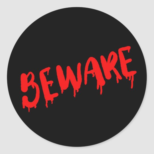 Beware dripping blood Halloween sticker