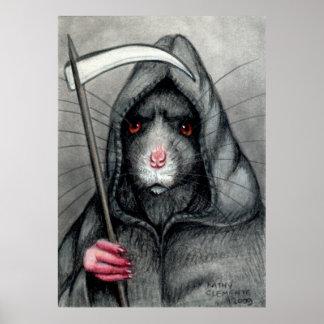 Beware Grim Reaper Rat Poster